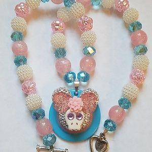 Jewelry - Handmade Mickey Skull Face Necklace.